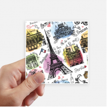 Building France Eiffel Tower Watercolor Sticker Square Waterproof Stickers Wallpaper Car Decal