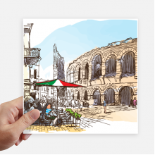 Italy Colosseum Architecture Pattern Sticker Tags Wall Picture Laptop Decal Self adhesive