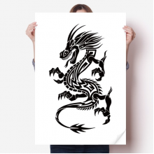 Dragon Animal Art Grain Silhouette Sticker Poster Decal 31x22