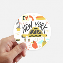 America New York City Liberty Illistration Round Stickers 10cm Wall Suitcase Laptop Motobike Decal 8pcs