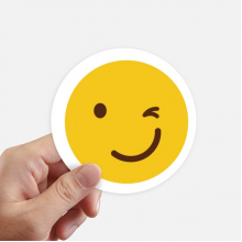 Blink Smile Yellow Happy Illustration Pattern Sticker Round Wall Suitcase Laptop Label Bumper