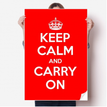 Quote Keep Calm And Carry On Red Sticker Poster Decal 31x22