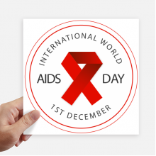 Red Ribbon AIDS Day HIV Awareness Solidarity Sticker Tags Wall Picture Laptop Decal Self adhesive