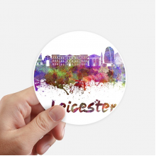 Leicester Britain City Watercolor Round Stickers 10cm Wall Suitcase Laptop Motobike Decal 8pcs