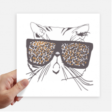 Leopard Print Sunglass Cat Head Animal Sticker Tags Wall Picture Laptop Decal Self adhesive