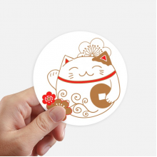Japan Lucky Fortune Cat Flower Copper Round Stickers 10cm Wall Suitcase Laptop Motobike Decal 8pcs