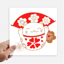 Cherry Blossoms Lucky Fortune Cat Japan Sticker Tags Wall Picture Laptop Decal Self adhesive