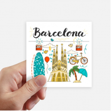 Barcelona Spanish Sagrada Familia Square Stickers 10cm Wall Suitcase Laptop Motobike Decal 8pcs