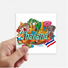 The Grand Palace Elephant Thailand Graffiti Square Stickers 10cm Wall Suitcase Laptop Motobike Decal 8pcs