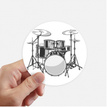 Song Music Drum Kit Energy Illustrate Round Stickers 10cm Wall Suitcase Laptop Motobike Decal 8pcs