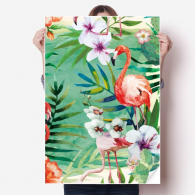 Tropical Plants Flamingo Animal Vinyl Wall Sticker Poster Mural Wallpaper Room Decal 80X55cm