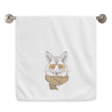 British Style Animal Gentle Wolf And Scarf Animal Circlet White Towels Soft Towel Washcloth 13x29 Inch