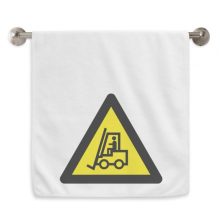 Warning Symbol Yellow Black Forklifts Triangle Circlet White Towels Soft Towel Washcloth 13x29 Inch