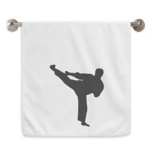 Shaolin Kung Fu Chinese Culture Pattern Circlet White Towels Soft Towel Washcloth 13x29 Inch