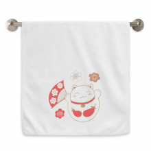 Japan Lucky Fortune Cat Flower Copper Circlet White Towels Soft Towel Washcloth 13x29 Inch
