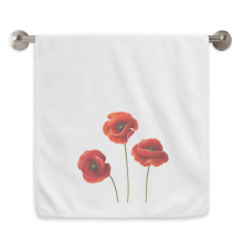 Art Painting Corn Poppy Red Flowers Circlet White Towels Soft Towel Washcloth 13x29 Inch