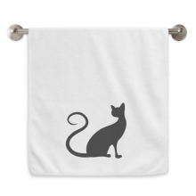 Elegant Black Cat Animal Silhouette Circlet White Towels Soft Towel Washcloth 13x29 Inch