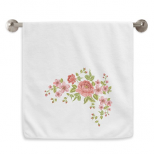Red Roses Pattern Flowers Plants Circlet White Towels Soft Towel Washcloth 13x29 Inch
