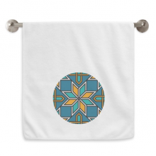 Blue Orange Morocco Abstract Flower Circlet White Towels Soft Towel Washcloth 13x29 Inch