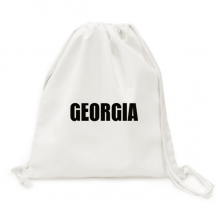 Georgia Country Name Black Canvas Drawstring Backpack Travel Shopping Bags
