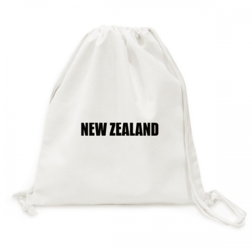 New Zealand Country Name Black Canvas Drawstring Backpack Travel Shopping Bags