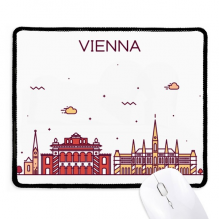 Vienna Austria Flat Landmark Pattern Non-Slip Mousepad Game Office Black Stitched Edges Gift