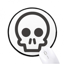 Fun Skeleton Cute Online Chat Emoji Round Non-Slip Mousepads Black Stitched Edges Game Office Gift