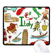 Italy Landscap Animals National Flag Non-Slip Mousepad Game Office Black Stitched Edges Gift