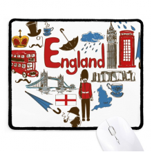 England Love Heart UK National Flag Non-Slip Mousepad Game Office Black Stitched Edges Gift