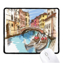 Italy Venice Landscape Watercolour Painting Non-Slip Mousepad Game Office Black Stitched Edges Gift