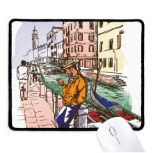 Italy Venice Landscape National Pattern Non-Slip Mousepad Game Office Black Stitched Edges Gift