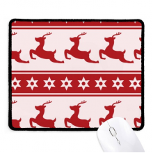 Christmas Elk Star Red Festival Non-Slip Mousepad Game Office Black Titched Edges Gift