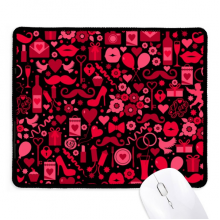 Black Pink Hearts Lips Valentine's Day Non-Slip Mousepad Game Office Black Stitched Edges Gift