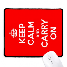 Quote Keep Calm And Carry On Red Non-Slip Mousepad Game Office Black Stitched Edges Gift