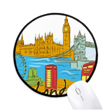 UK the United Kingdom London Round Non-Slip Mousepads Black Stitched Edges Game Office Gift