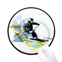 Sport Winter Athletes Freestyle Skiing Watercolor Round Non-Slip Mousepads Black Stitched Edges Game Office Gift