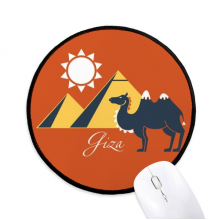 Egypt Pyramid Sphinx Camel Pattern Round Non-Slip Mousepads Black Stitched Edges Game Office Gift