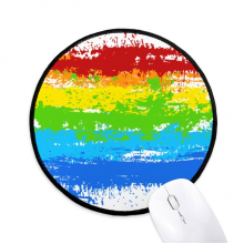 Stippling Rainbow Gay Lesbian LGBT Round Non-Slip Mousepads Black Stitched Edges Game Office Gift