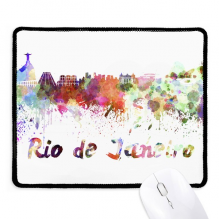 Rio De Janerio Brazil City Watercolor Non-Slip Mousepad Game Office Black Stitched Edges Gift