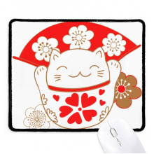 Cherry Blossoms Lucky Fortune Cat Japan Mousepad Stitched Edge Mat Rubber Gaming Pad