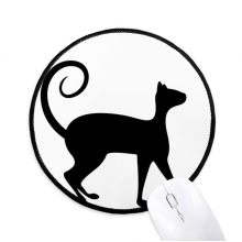 Pet Lover Black Cat Animal Art Silhouette Round Non-Slip Mousepads Black Stitched Edges Game Office Gift