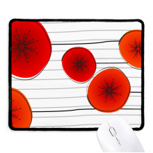 Abstract Red Circle Flowers Art Painting Non-Slip Mousepad Game Office Black Titched Edges Gift