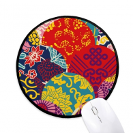 Flowers Leaves Chinese Knot  Pattern Japanese Style Round Non-Slip Mousepads Black Stitched Edges Game Office Gift