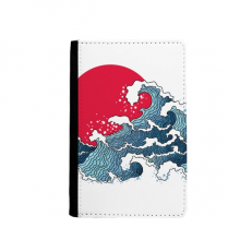 Japan Red Sun Sea Watercolor Passport Holder Travel Wallet Cover Case Card Purse