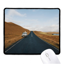 Autumn Car Country Road Travel Sky Grass Non-Slip Mousepad Game Office Black Titched Edges Gift