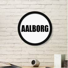 Aalborg Denmark City Name Art Painting Picture Photo Wooden Round Frame Home Wall Decor Gift