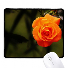 Orange Dark Green Leaves Flower Non-Slip Mousepad Game Office Black Stitched Edges Gift