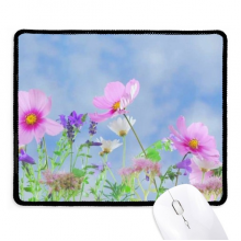 Blue Background Purple Pink Flowers Non-Slip Mousepad Game Office Black Titched Edges Gift