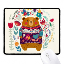 Cartoon Bear Animal Pink Non-Slip Mousepad Game Office Black Stitched Edges Gift