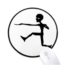 Universe Alien Monster Jumping Alien Round Non-Slip Mousepads Black Stitched Edges Game Office Gift